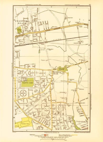 Associate Product ROMFORD. Chadwell Heath Becontree Dagenham Valence Park 1933 old vintage map