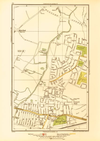 Associate Product MIDDLESEX. Dormer's Wells Mount Pleasant Southall West End 1933 old map