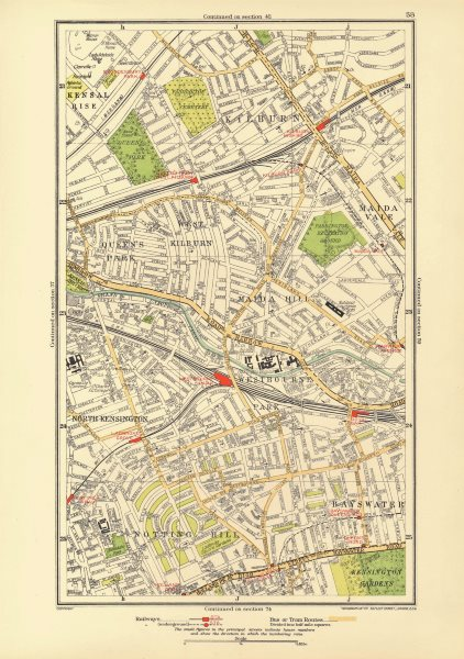 NOTTING HILL. Bayswater Kilburn Maida Vale Westbourne Park Queens Park 1933 map