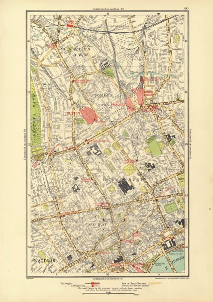 Associate Product WEST END. Marylebone Camden Mayfair Soho Bloomsbury Covent Garden 1933 old map