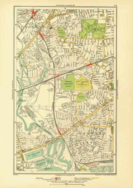 Associate Product LONDON. Canning Town Stratford West Ham Plaistow Blackwall Poplar 1933 old map