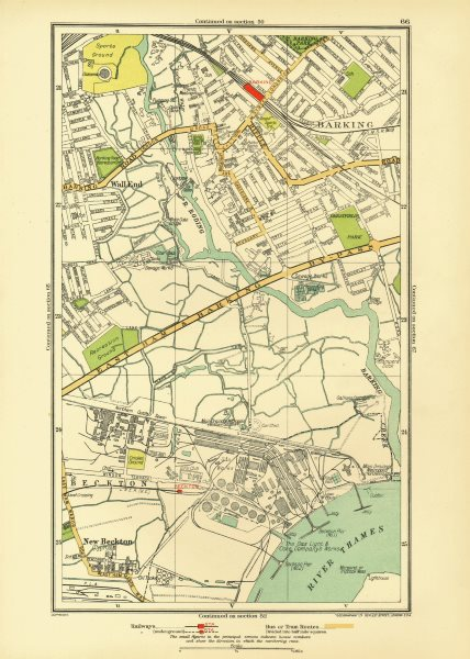Associate Product LONDON. Barking Beckton Cyprus New Beckton Wall End 1933 old vintage map chart