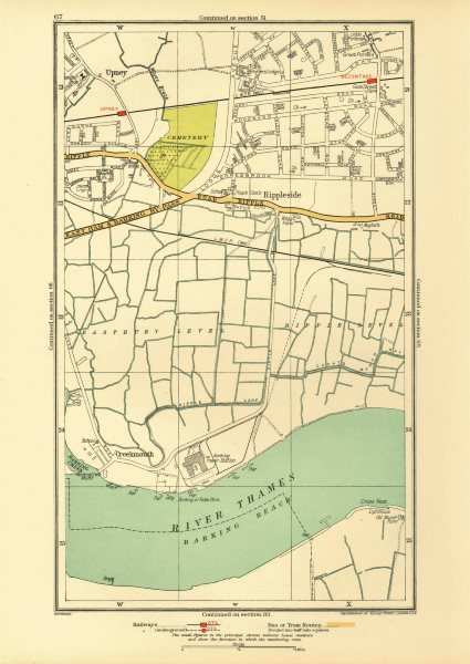 Associate Product LONDON. Creekmouth Rippleside Upney Becontree Thamesmead 1933 old vintage map