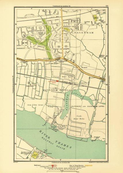 LONDON. Dagenham Hornchurch Thamesmead Dagenham Dock 1933 old vintage map