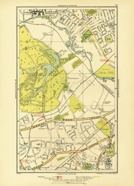 Associate Product LONDON. Isleworth Osterley Spring Grove Hounslow Boston Manor 1933 old map
