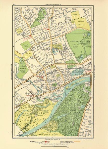 Associate Product LONDON. Brentford Little Ealing Northfields Kew Bridge South Ealing 1933 map