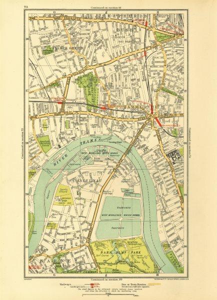 Associate Product HAMMERSMITH. Barnes Shepherds Bush Fulham Castlenau Starch Green 1933 old map