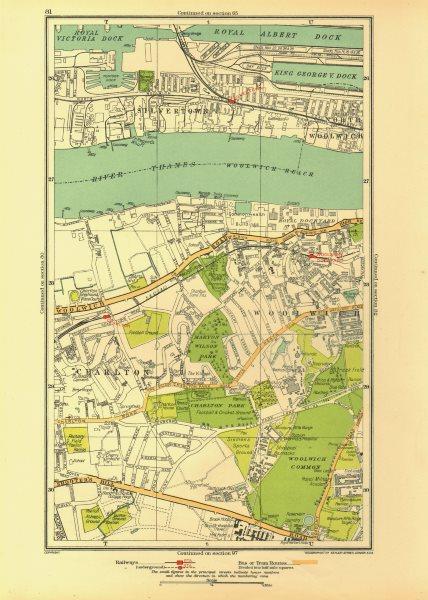 Associate Product LONDON. Charlton Greenwich Silvertown Woolwich Dockyard 1933 old vintage map
