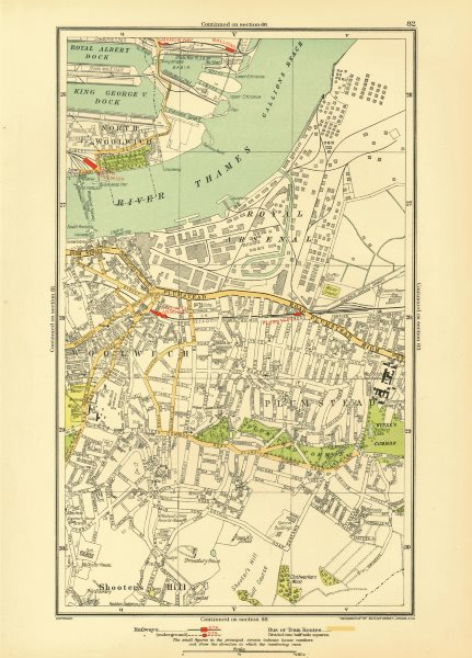 Associate Product LONDON. North Woolwich Plumstead Gallions Manor Way Woolwich Arsenal 1933 map
