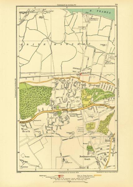 Associate Product LONDON. Belvedere Erith Lessness Heath Northumberland Heath 1933 old map