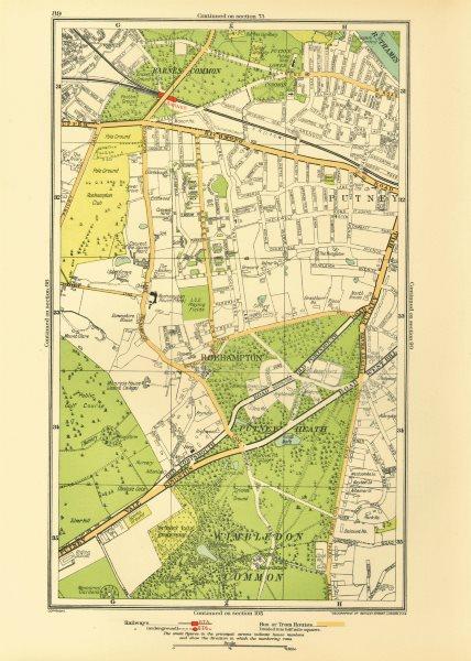 Associate Product LONDON. Putney Vale Roehampton Barnes Roehampton Park Barnes Common 1933 map