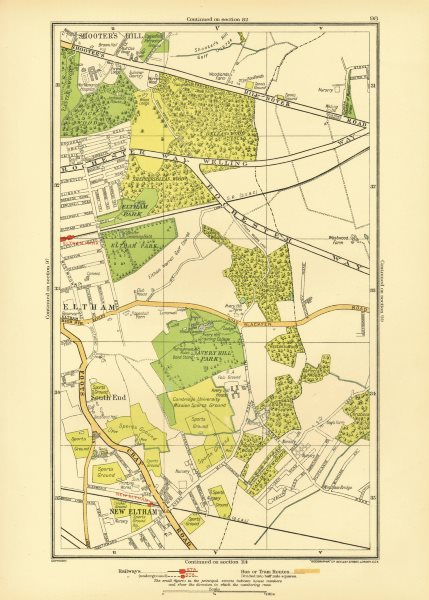 Associate Product LONDON. New Eltham Shooter's Hill South End Eltham Park Pope Street 1933 map
