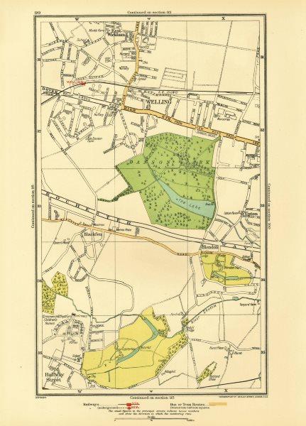 Associate Product BEXLEY. Welling Blackfen Blendon East Wickham Upton Halfway Street 1933 map