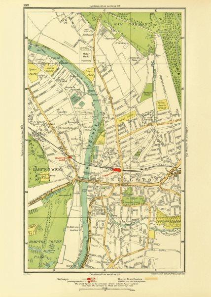 Associate Product KINGSTON UPON THAMES. Teddington Hampton Wick Ham Common Hampton Court 1933 map