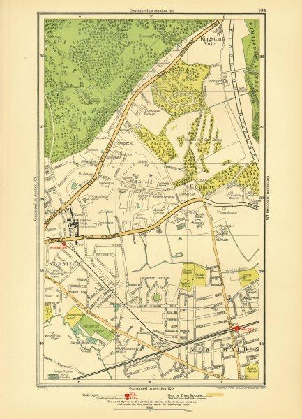 Associate Product NORBITON. Coombe Kingston Hill Kingston Vale New Malden Malden 1933 old map
