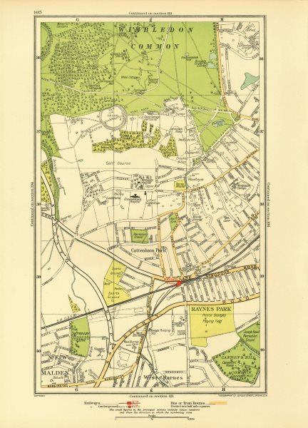 WIMBLEDON. Raynes Park Cottenham Park New Malden Shannon Corner 1933 old map