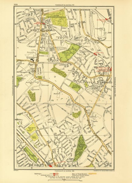 Associate Product LONDON. Upper Norwood West Dulwich West Norwood Sydenham Hill 1933 old map
