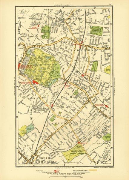 SYDENHAM. Anerley Elmers End Penge Crystal Palace Upper Norwood 1933 old map