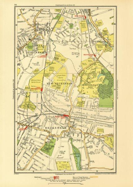 Associate Product BECKENHAM. Bellingham Lower Sydenham Southend Clock House 1933 old vintage map