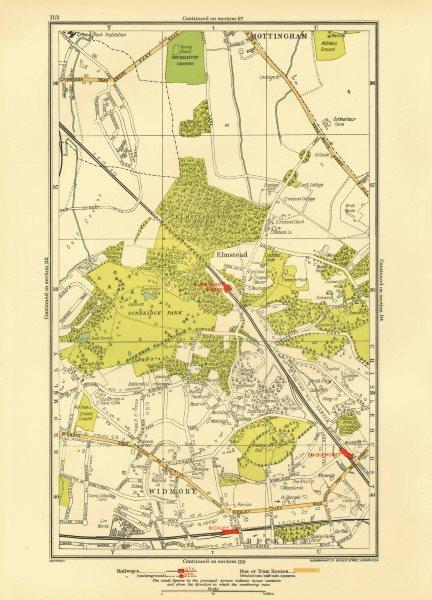 Associate Product LONDON. Bickley Elmstead Widmore Mottingham Chislehurst Chalkpit Wood 1933 map