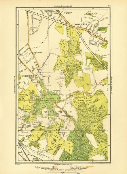 Associate Product CHISLEHURST. Chislehurst West Longlands Pett's Wood Sidcup Park Wood 1933 map