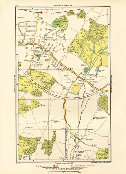 Associate Product SIDCUP. Foots Cray St Paul's Cray Queen's Hospital Frognal (Q Mary's) 1933 map