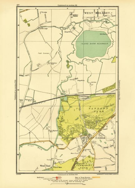 Associate Product SURREY. Esher Lower Green West End Sandown Park West Molesey 1933 old map