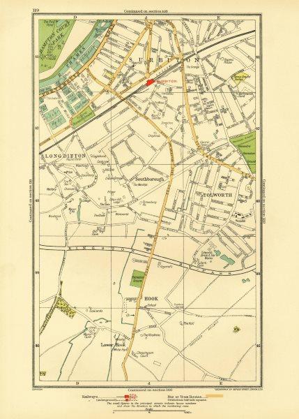 Associate Product SURBITON. Hook Long Ditton Tolworth Southborough Surbiton 1933 old vintage map