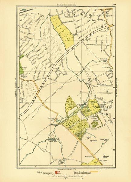 Associate Product NEW MALDEN. Surbiton Worcester Park West Ewell Tolworth Berrylands 1933 map