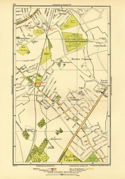 Associate Product CHEAM. Stoneleigh; Worcester Morden Common Motspur Park West Barnes 1933 map