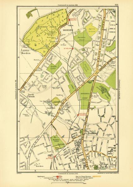 Associate Product SUTTON. Benhilton North/Lower Morden Park Cheam St Helier; Surrey 1933 old map