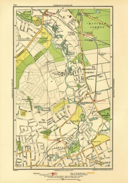 Associate Product CARSHALTON. Wallington Mitcham Junction The Wrythe Sutton Hackbridge 1933 map
