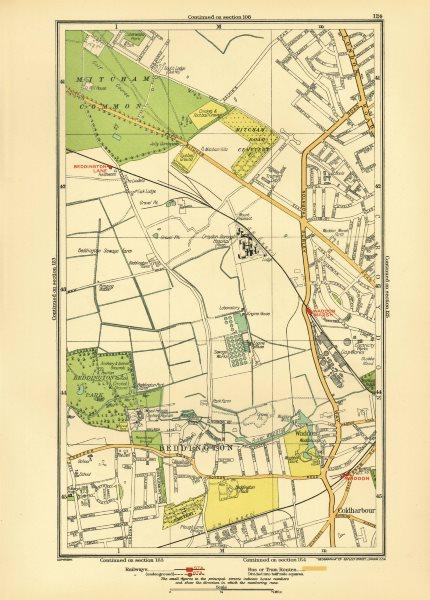 Associate Product SURREY. Beddington Lane Coldharbour Sandhills Waddon Ampere Way 1933 map