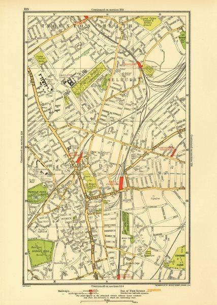 Associate Product CROYDON. Selhurst Thornton Heath Addiscombe Road Wandle Park Duppas 1933 map