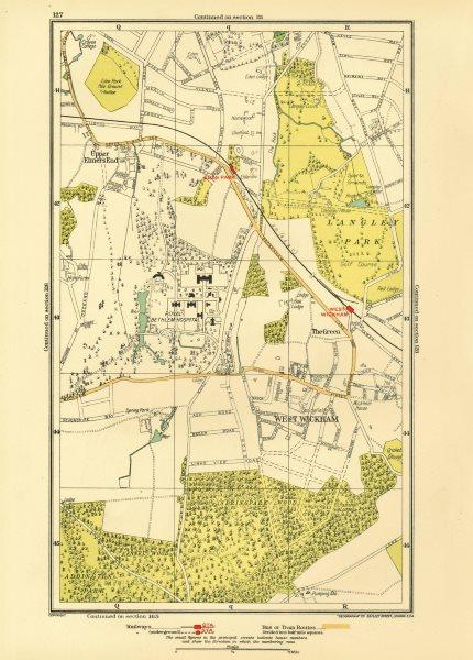 Associate Product LONDON. Upper Elmers End West Wickham Eden Park Spring Park 1933 old map