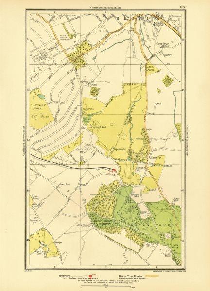 Associate Product KENT. Bromley Hayes Beckenham West Wickham Shortlands Keston 1933 old map