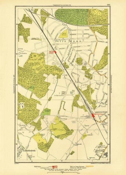Associate Product PETT'S WOOD. Orpington Locksbottom Crofton Southborough 1933 old vintage map