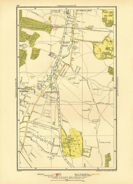 Associate Product ORPINGTON. St Mary Cray St Paul's Cray Broom Hill Goddington 1933 old map