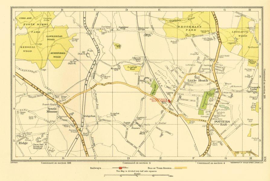 Associate Product POTTERS BAR. South Mimms Little Heath Brookmans Park Ridge (Herts) 1933 map