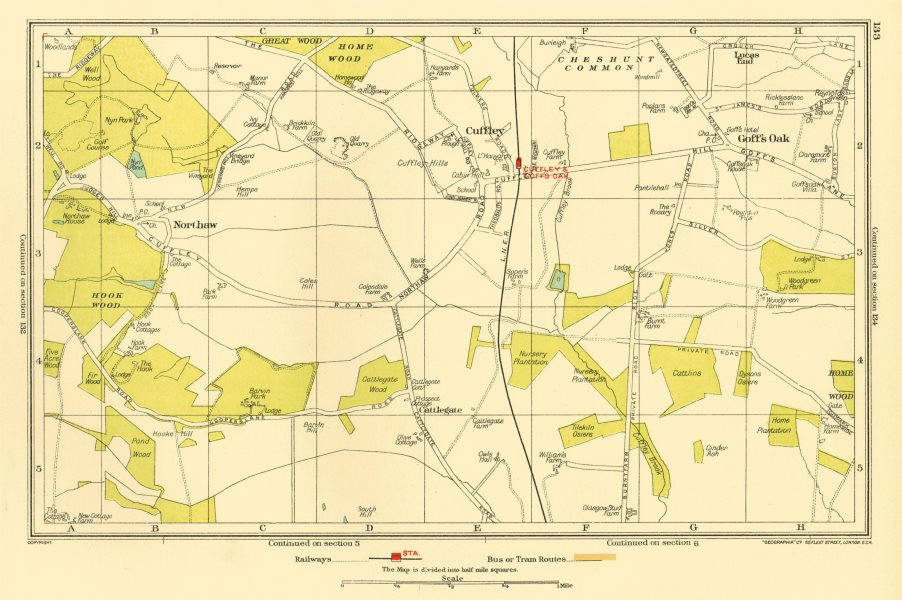 Associate Product HERTFORDSHIRE. Cuffley Goff's Oak Northaw Potters Bar 1933 old vintage map