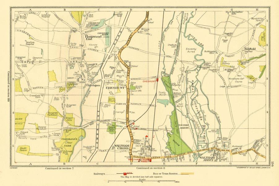 Associate Product CHESHUNT. Waltham Cross Waltham Abbey Flamstead End Hammond Street 1933 map