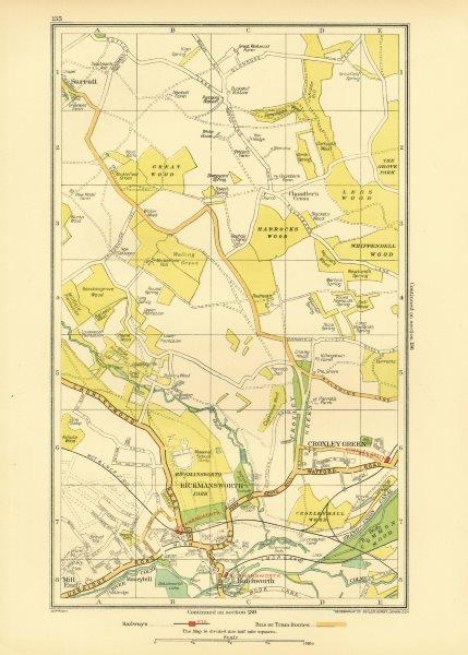 Associate Product RICKMANSWORTH. Chandler's Cross Chorleywood Sarratt Croxley Green 1933 old map