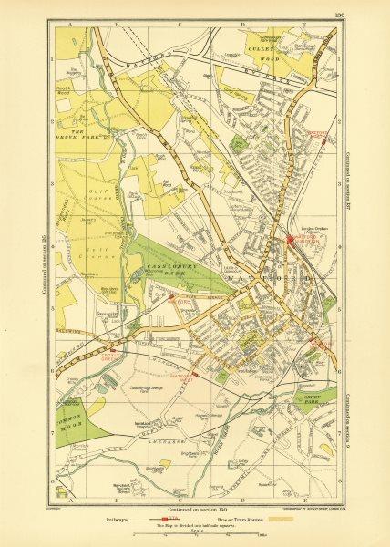Associate Product WATFORD. Holywell Cassiobury Kingswood Oxhey Croxley Green Garston 1933 map