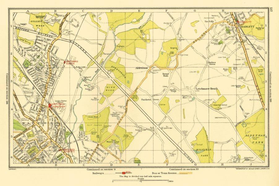 Associate Product WATFORD. Letchmore Heath Radlett Meriden Aldenham Patchetts Green 1933 old map