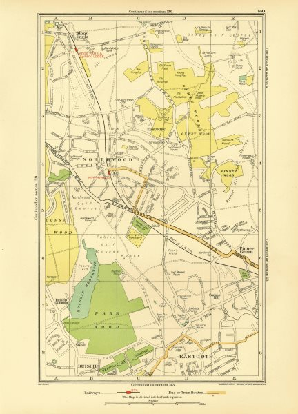 Associate Product NORTHWOOD. Pinner Eastcote Ruislip Moor Park South Oxhey (Middlesex) 1933 map