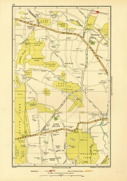 Associate Product SOUTH BUCKS. Iver Heath Denham Uxbridge Tatling End Baker's Wood 1933 old map