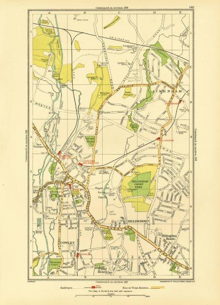 Associate Product UXBRIDGE. Ickenham Hillingdon Ruislip Cowley New Denham 1933 old vintage map