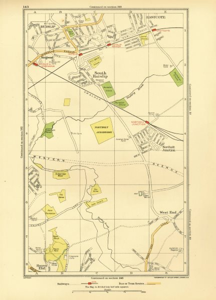 Associate Product NORTHOLT. Ruislip Ruislip Manor Hillingdon Yeading Greenford Eastcote 1933 map