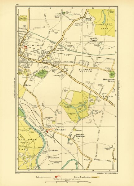 Associate Product SLOUGH. Windsor Datchet Datchet Common Langley George Green 1933 old map