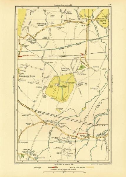 Associate Product LANGLEY. Iver Colnbrook Richings Park Horton Poyle Shreding/Love Green 1933 map